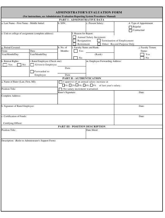 """Administrator's Evaluation Form"" Download Pdf"