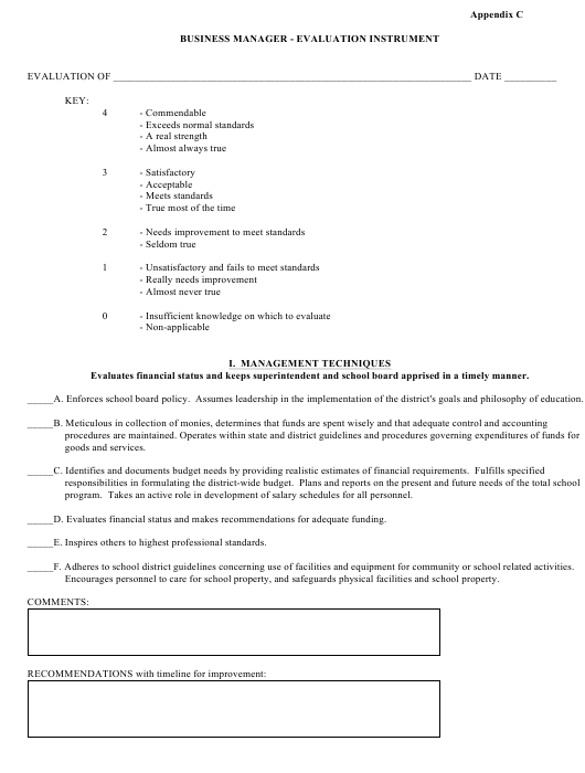 """Business Manager - Evaluation Form"" Download Pdf"
