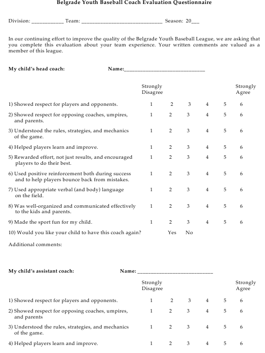 """Baseball Coach Evaluation Questionnaire Template - Belgrade Youth Baseball"" Download Pdf"