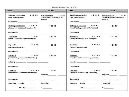Baseball Evaluation Form - Fox Sports Download Pdf