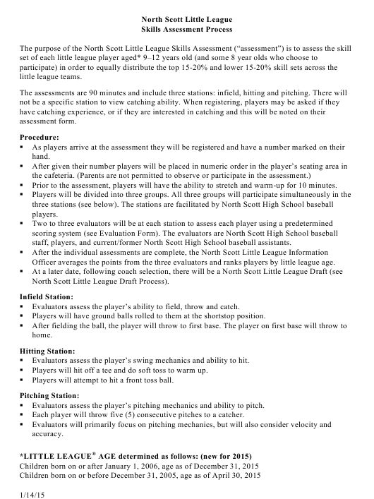 """Skills Assessment Form - North Scott Little League"" - Iowa Download Pdf"