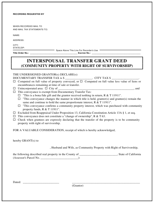Interspousal Transfer Grant Deed Form (Community Property With Right of Survivorship) - California Download Pdf