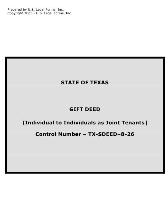 """""""Gift Deed Form - Individual to Individuals as Joint Tenants"""" - Texas Download Pdf"""