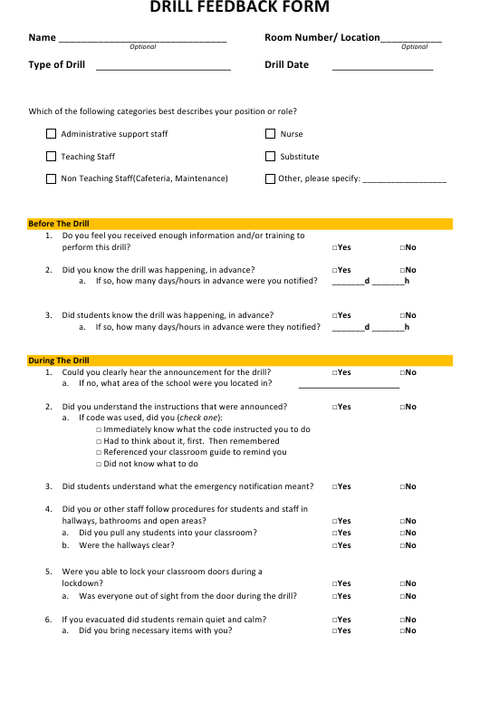 Drill Feedback Form Download Pdf