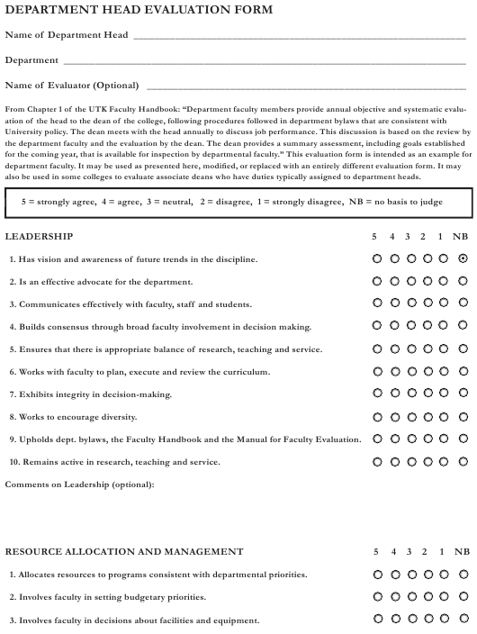 """Department Head Evaluation Form"" Download Pdf"