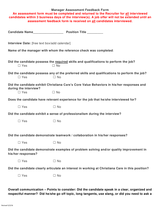 """Manager Assessment Feedback Form"" Download Pdf"