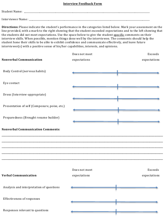 """Interview Feedback Form"" Download Pdf"