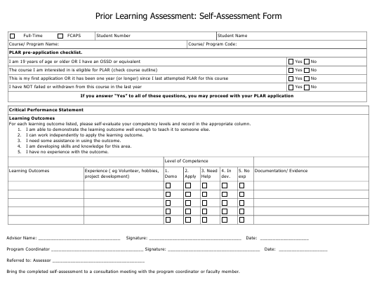 """Prior Learning Self-assessment Form"" Download Pdf"