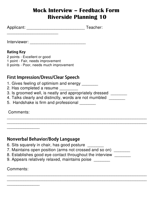 """Mock Interview Feedback Form"" Download Pdf"