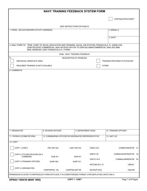 OPNAV Form 1500/39  Printable Pdf