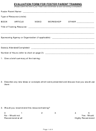 """""""Evaluation Form for Foster Parent Training"""""""