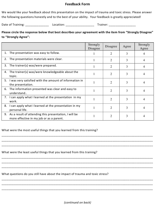 """Trauma and Toxic Stress Presentation Feedback Form"" - Michigan Download Pdf"