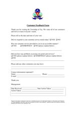 """Customer Feedback Form"" - Ontario, Canada"