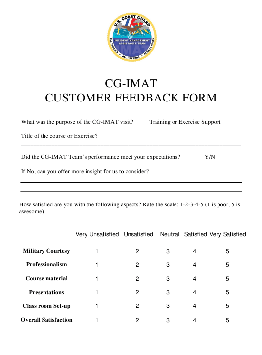 Cg-Imat Customer Feedback Form Download Pdf