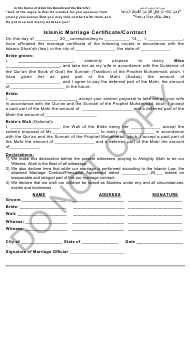 Islamic Marriage Certificate/Contract Template