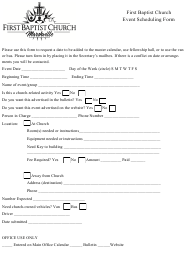 """Event Scheduling Form - First Baptist Church"""