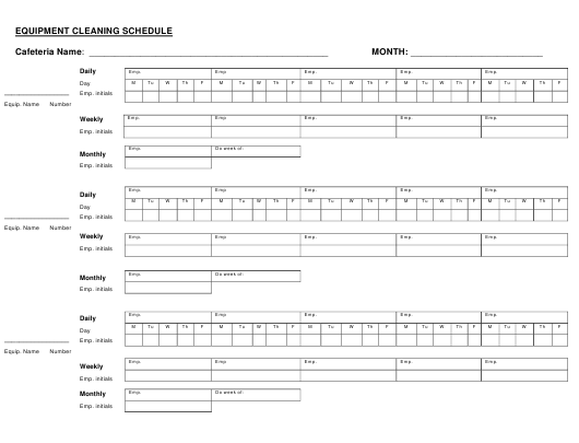 Equipment Cleaning Schedule Template Download Pdf
