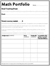 Math Portfolio - Goal Tracking Sheet Template