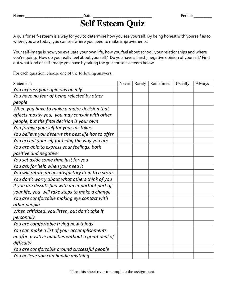 Self Esteem Assessment Worksheet Download Printable PDF ...