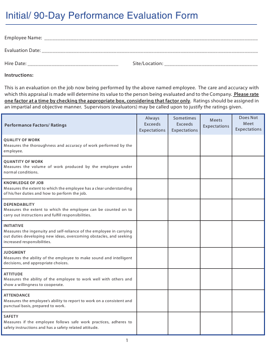 Employee Self Evaluation Forms | Initial 90 Day Employee Performance Evaluation Form The Mil