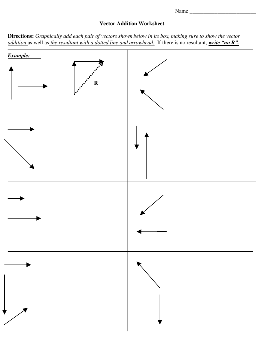 Vector Addition Worksheet With Answers Download Printable