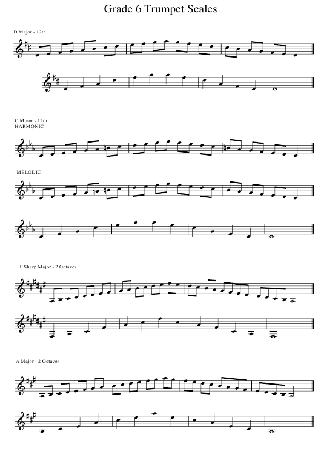 Grade 6 Trumpet Scale Sheet Download Printable PDF   Templateroller