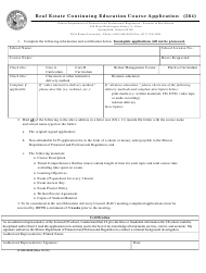 "Form IL505-0646 ""Real Estate Continuing Education Course Application Form"" - Illinois"
