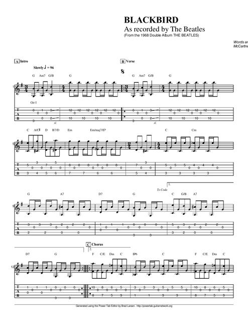 The Beatles Blackbird Guitar Sheet Music Download Printable Pdf