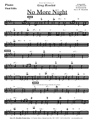 Greg Hewlett - No More Night Sheet Music