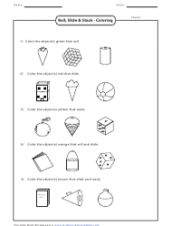 Roll, Slide & Stack - Coloring Worksheet With Answers
