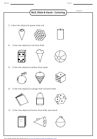 """Roll, Slide & Stack - Coloring Worksheet With Answers"""