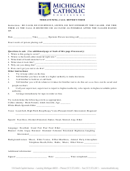 """Threatening Call Report Form - Michigan Catholic Conference"" - Michigan"