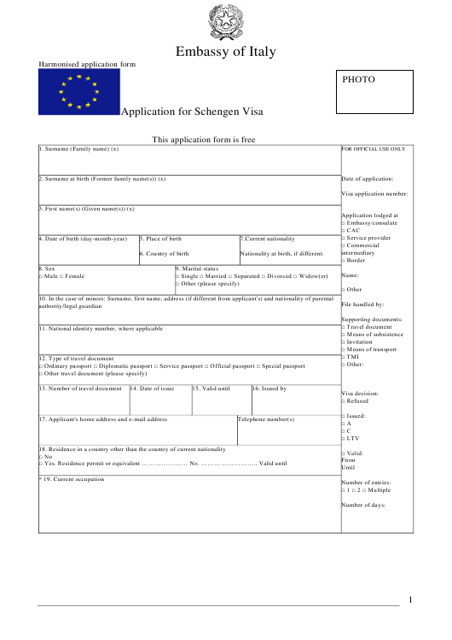 """Schengen Visa Application Form - Embassy of Italy"" Download Pdf"