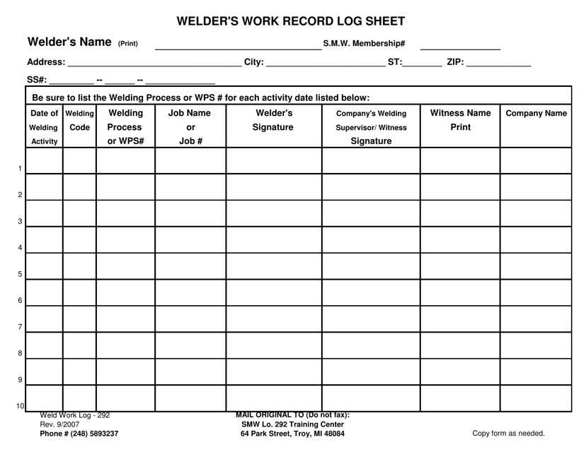Welder's Work Record Log Sheet Michigan Download Printable