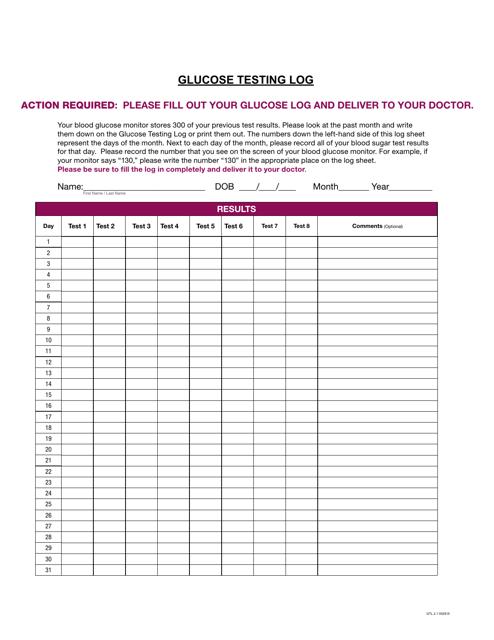 glucose testing log template download printable pdf