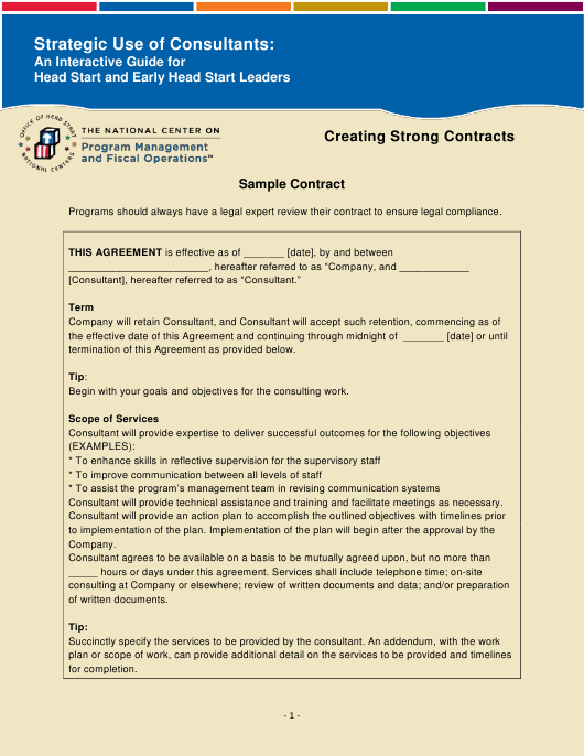 """""""Sample Contract Template - National Center on Program Management and Fiscal Operations"""" Download Pdf"""