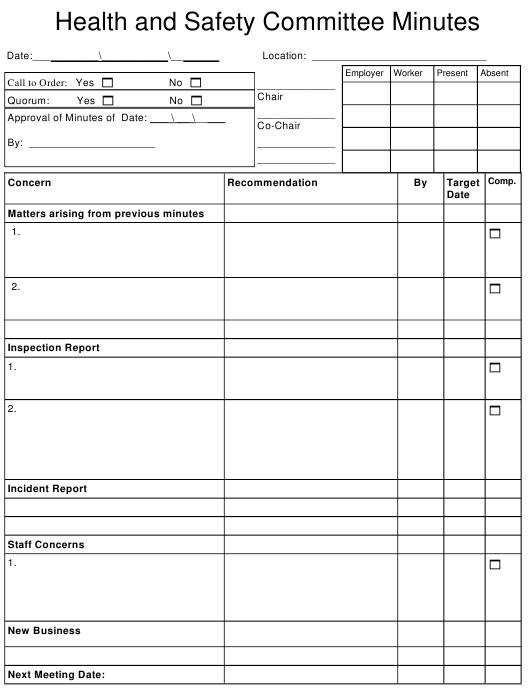 """""""Health and Safety Committee Minutes Template"""" Download Pdf"""
