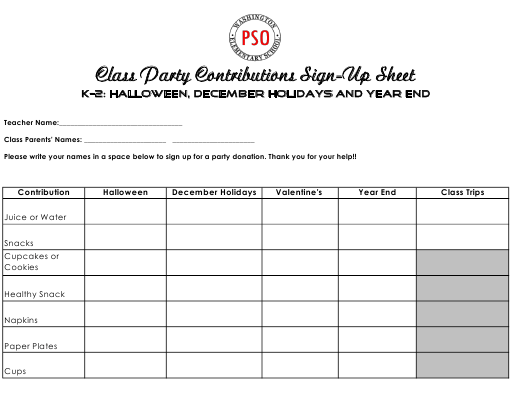 """""""Class Party Contributions Sign up Sheet Template for K-2 Grades - Washington Elementary School"""" Download Pdf"""
