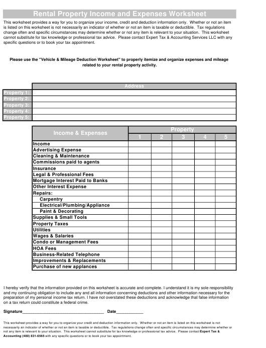 Rental Property Income And Expenses Worksheet Expert Tax Accounting Services Llc Download Printable Pdf Templateroller