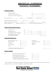 Residential Investment Property Worksheet Template - Howard Perry and Walston Real Estate School