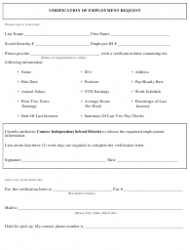 Verification of Employment Request Form - Conroe Independent School District - Texas