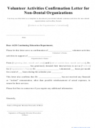 Volunteer Activities Confirmation Letter Template for Dental/Non-dental Organizations