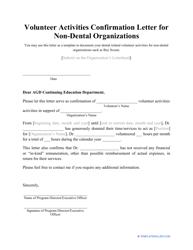 Volunteer Activities Confirmation Letter Template For Dental/non-dental Organizations
