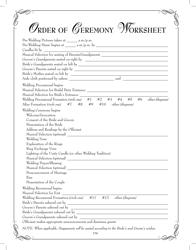 """Order of Ceremony Worksheet Template"""