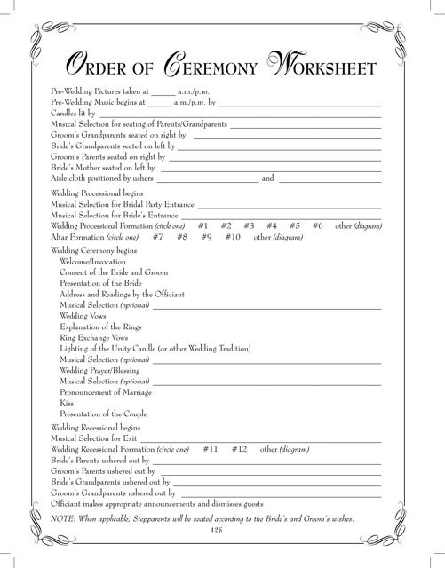 Order of Ceremony Worksheet Template Download Pdf