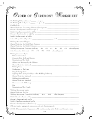 Order of Ceremony Worksheet Template