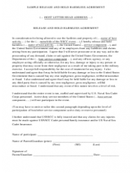 Sample Release and Hold Harmless Agreement Template