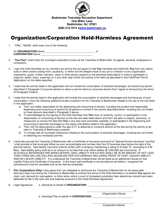 """Organization/Corporation Hold Harmless Agreement Form"" - Township of Bedminster, New Jersey Download Pdf"