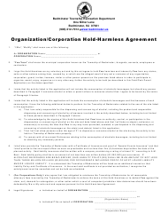 """Organization/Corporation Hold Harmless Agreement Form"" - Township of Bedminster, New Jersey"