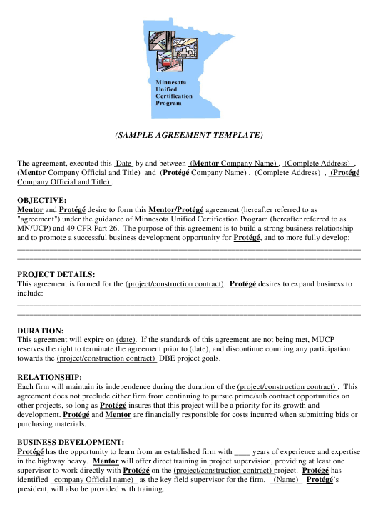 Sample Agreement Template Minnesota Unified Certification